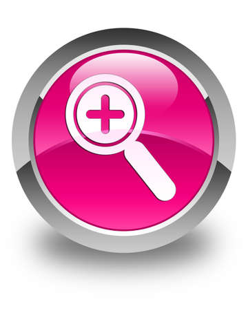 zoom in: Zoom in icon glossy pink round button