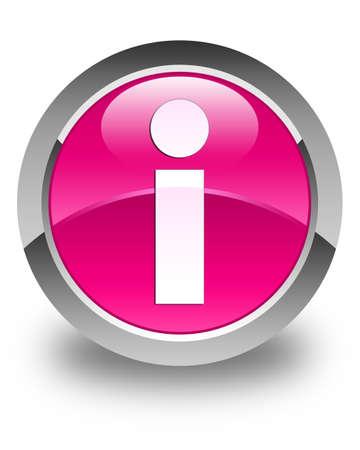 inform information: Info icon glossy pink round button