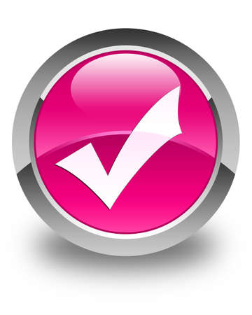 validation: Validation icon glossy pink round button Stock Photo