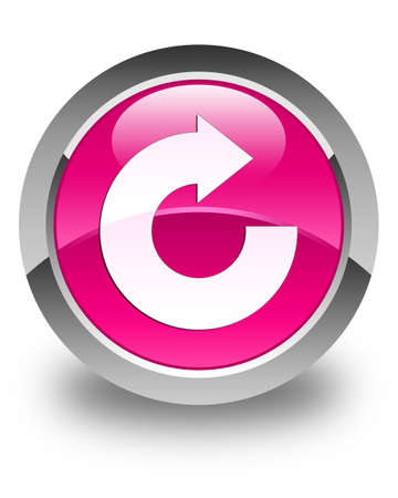 reply: Reply arrow icon glossy pink round button Stock Photo
