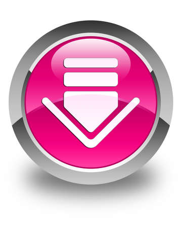 glossy button: Download icon glossy pink round button