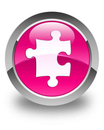 plugin: Puzzle icon glossy pink round button Stock Photo