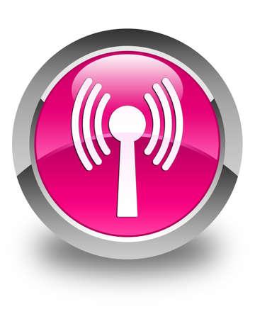wlan: Wlan network icon glossy pink round button