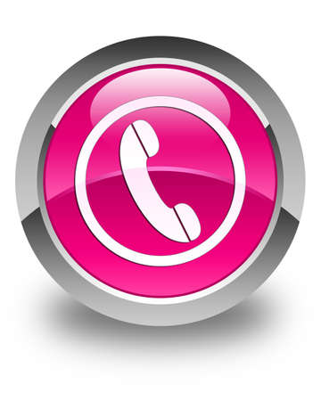 phone button: Phone icon glossy pink round button