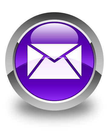 contact us: Email icon glossy purple round button