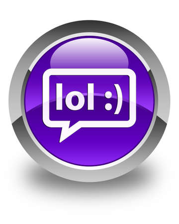 laugh out loud: LOL bubble icon glossy purple round button