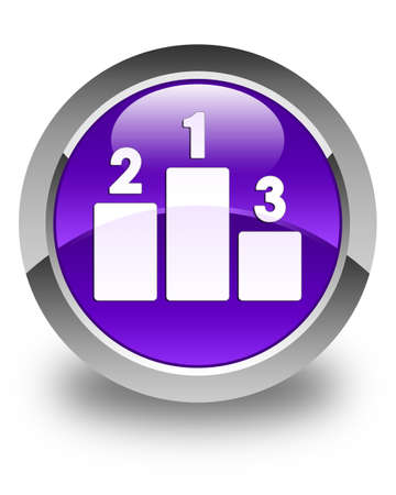sport icon: Podium icon glossy purple round button Stock Photo