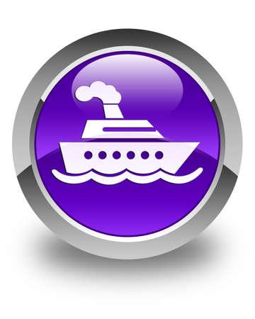 cruise ship icon: Cruise ship icon glossy purple round button