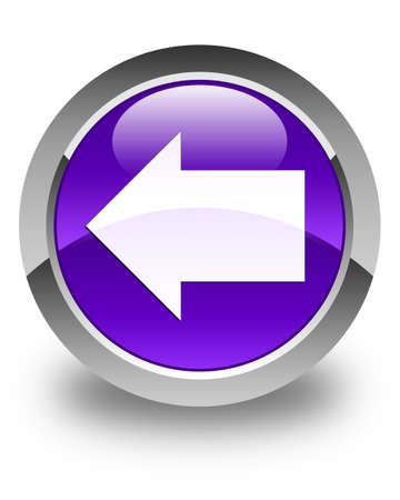 round back: Back arrow icon glossy purple round button
