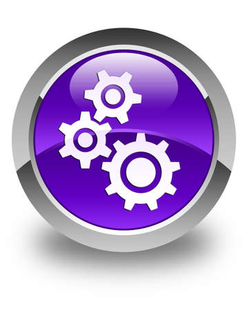 preference: Gears icon glossy purple round button Stock Photo