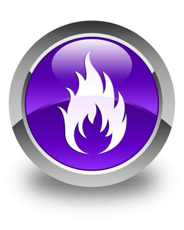 wildfire: Fire icon glossy purple round button