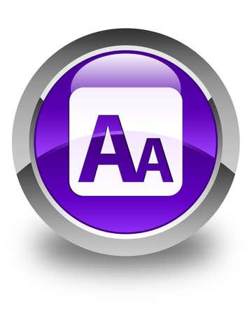 box size: Font size box icon glossy purple round button Stock Photo