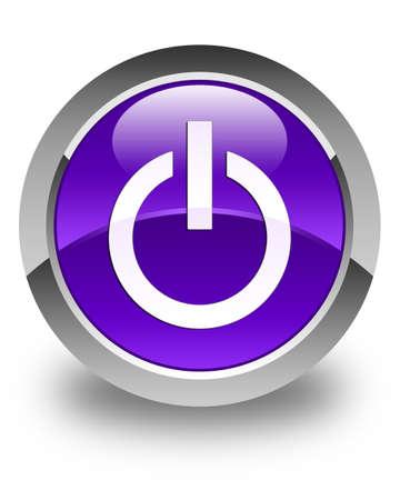 shut off: Power icon glossy purple round button Stock Photo