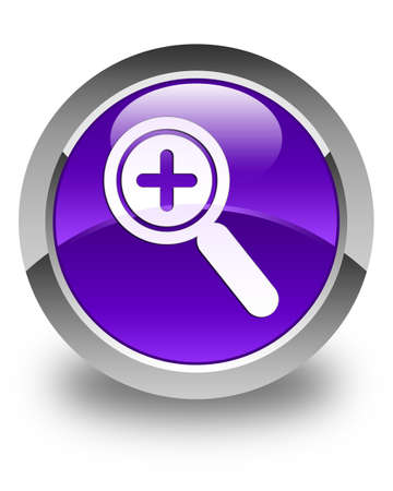 focus on shadow: Zoom in icon glossy purple round button Stock Photo