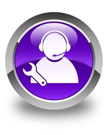 tech support: Tech support icon glossy purple round button