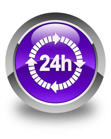 twenty four hours: 24 hours delivery icon glossy purple round button Stock Photo