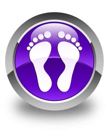 finger bones: Footprint icon glossy purple round button