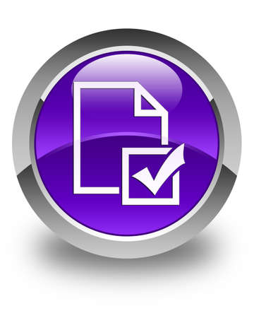positive note: Survey icon glossy purple round button Stock Photo
