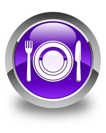 food plate: Food plate icon glossy purple round button
