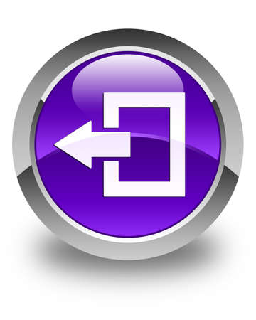 log off: Logout icon glossy purple round button