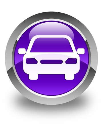 purple car: Car icon glossy purple round button