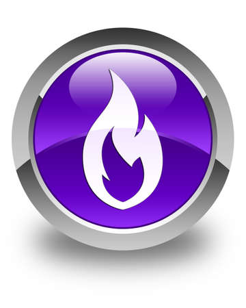 inferno: Fire flame icon glossy purple round button Stock Photo