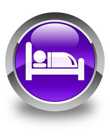 hotel bed: Hotel bed icon glossy purple round button