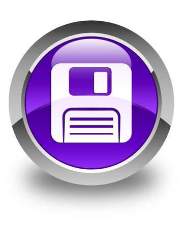 floppy disk: Floppy disk icon glossy purple round button