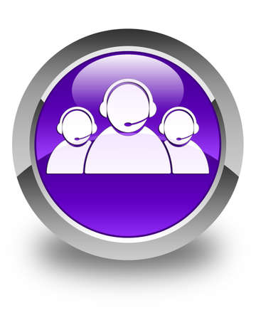contact us icon: Customer care team icon glossy purple round button Stock Photo