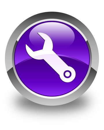 herramientas de construccion: Llave inglesa icono de bot�n redondo de color p�rpura brillante