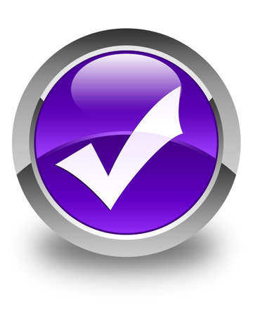 validation: Validation icon glossy purple round button Stock Photo