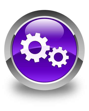 preference: Process icon glossy purple round button