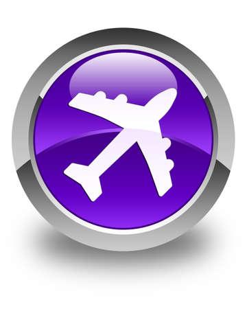 airway: Plane icon glossy purple round button