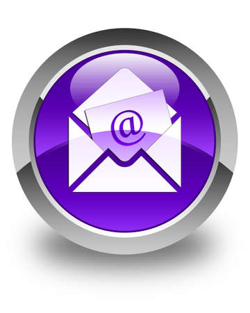 contact us: Newsletter email icon glossy purple round button Stock Photo