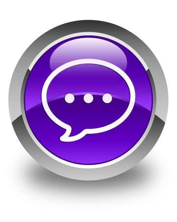instant message: Talk bubble icon glossy purple round button