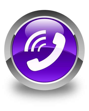 ringing: Phone ringing icon glossy purple round button
