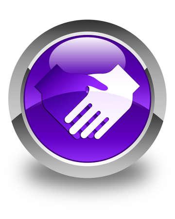 stretta di mano: Stretta di mano icona pulsante rotondo viola lucido