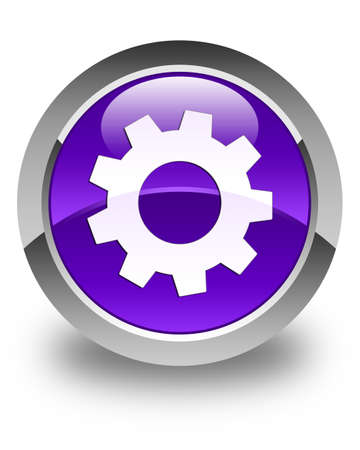 preference: Process icon glossy purple round button