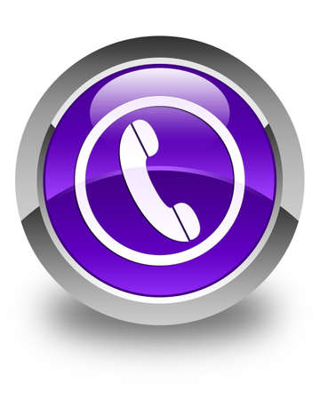 contact icon: Phone icon glossy purple round button