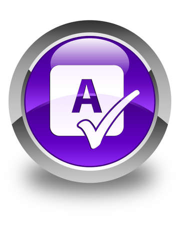 education icon: Spell check icon glossy purple round button