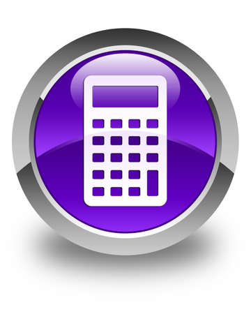 calculus: Calculator icon glossy purple round button Stock Photo