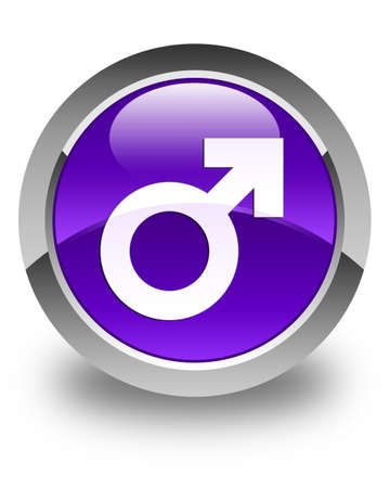 homosexual sex: Male sign icon glossy purple round button