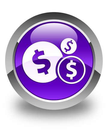 dollar sign icon: Finances (dollar sign) icon glossy purple round button