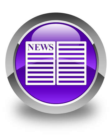 web feed: Newspaper icon glossy purple round button