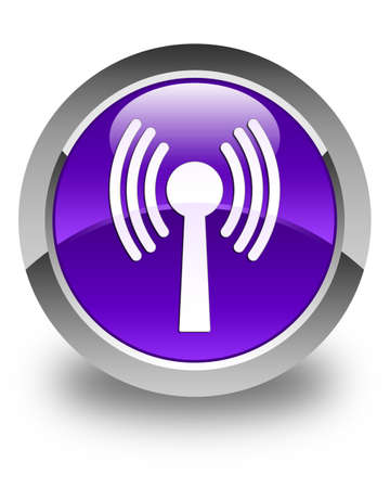 wlan: Wlan network icon glossy purple round button