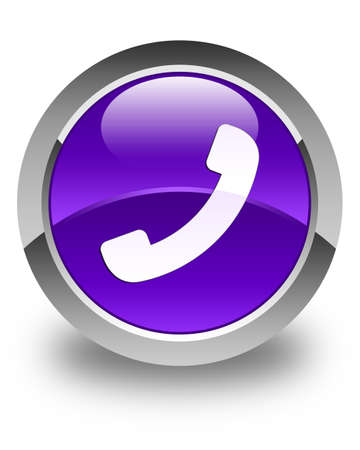 contact person: Phone icon glossy purple round button