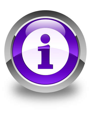 inform information: Info icon glossy purple round button Stock Photo