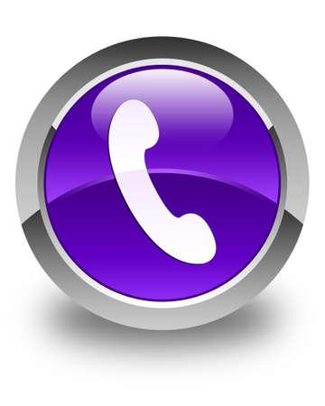 telephone operator: Phone icon glossy purple round button