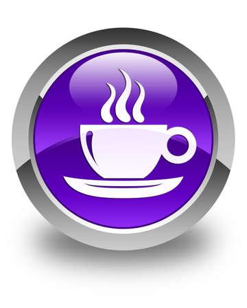 button icon: Coffee cup icon glossy purple round button