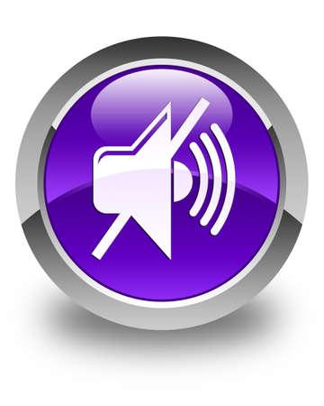 no sign: Mute volume icon glossy purple round button